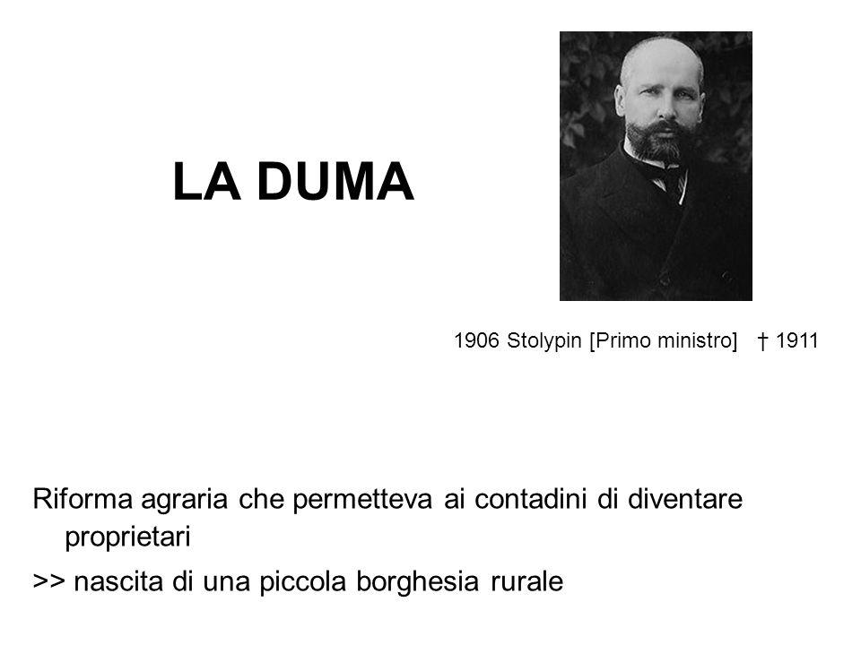 LA DUMA 1906 Stolypin [Primo ministro] † 1911. Riforma agraria che permetteva ai contadini di diventare proprietari.